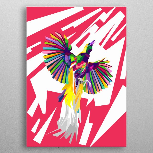Bird Of Paradise Also Name Burung Cenrawasih In Indonesia metal poster