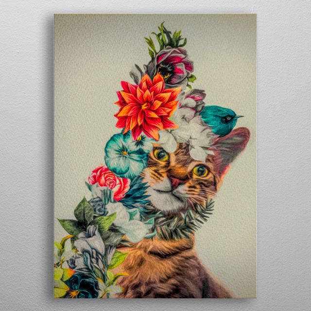 When kittens play with flowers you never know what will happen next. Original Art by Bob Orsillo metal poster