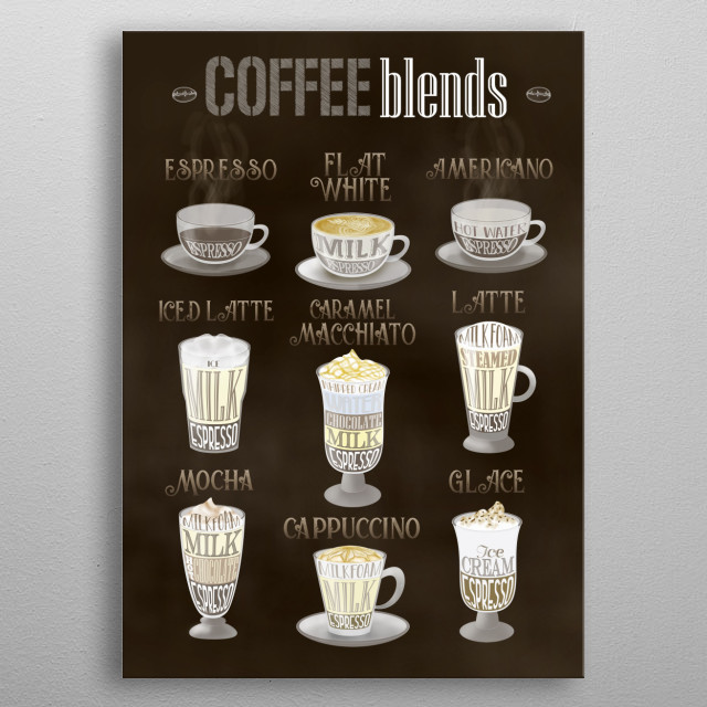 Do you love coffee? Get this coffee types displate wall art canva for coffee shops and coffee drinkers metal poster
