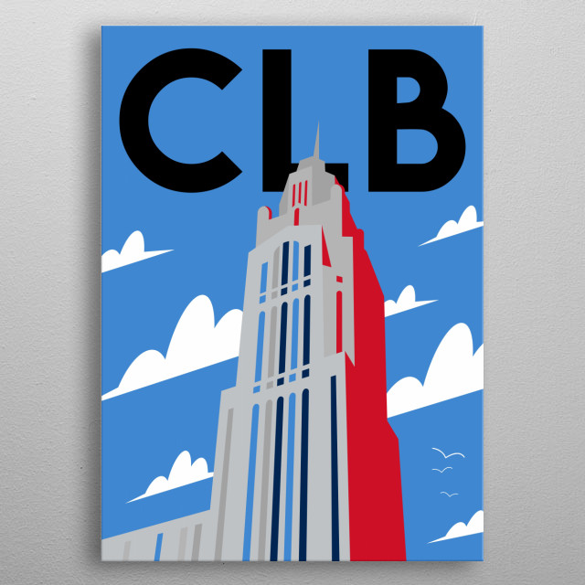 Enjoy the Crossroads of Ohio at the base of LeVeque Tower in this minimalist poster featuring the state's capital, Columbus.  metal poster