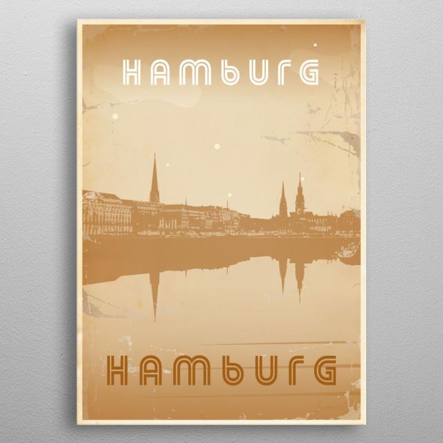 Vintage poster presenting Hamburg in Germany metal poster