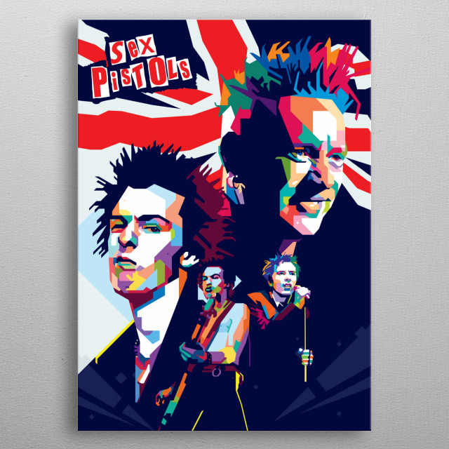 The Sex Pistols were an English punk rock band that formed in London in 1975                                                                 metal poster