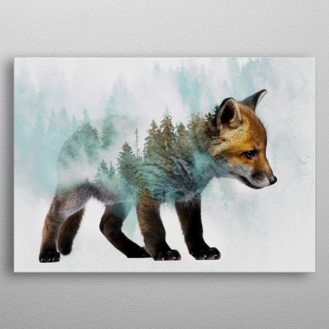 Baby Fox metal poster