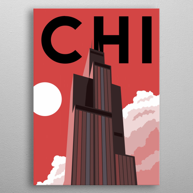 Grab a slice of deep dish at Willis Tower (formerly known as Sears Tower) in this minimalist poster featuring Chicago, Illinois.  metal poster