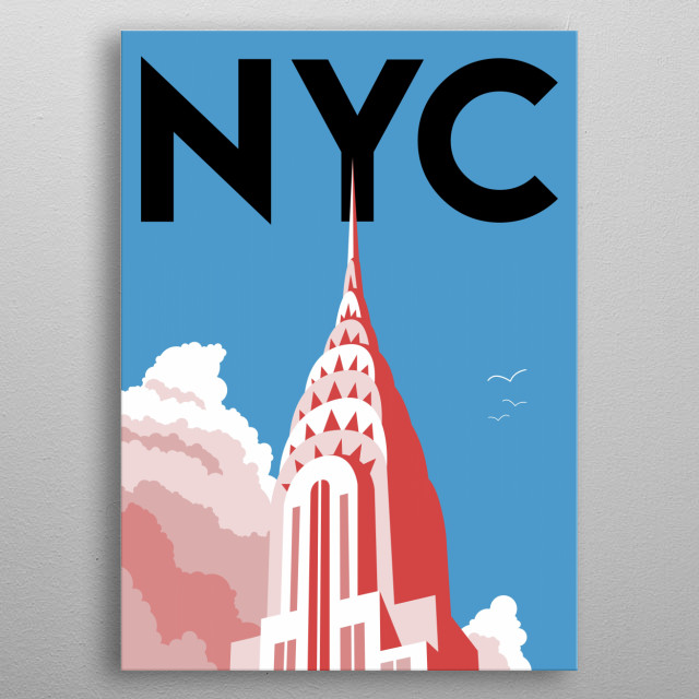 Take it easy under the iconic Chrysler Building in this minimalist poster featuring the Big Apple, New York City. metal poster