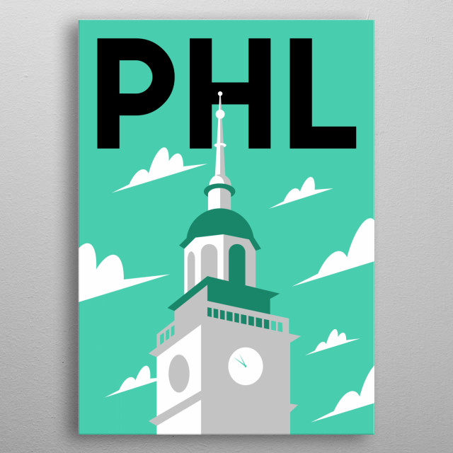 Celebrate our nation's freedom at Independence Hall in this minimalist poster featuring Philadelphia, Pennsylvania    metal poster