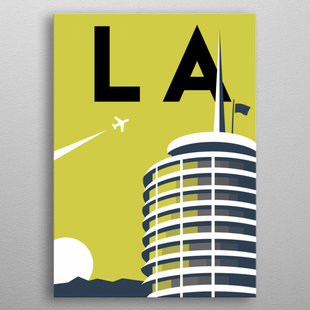 Gaze on the Californian sunset under the glowing Capitol Records Building in this minimalist poster featuring Los Angeles, California.  metal poster