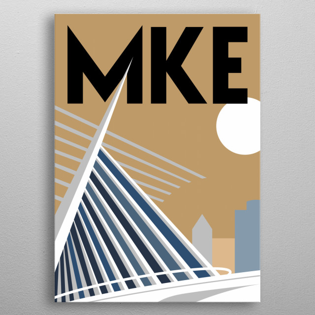 Take in the sites and brews at the iconic Milwaukee, Wisconsin Art Museum in this minimalist travel poster.  metal poster