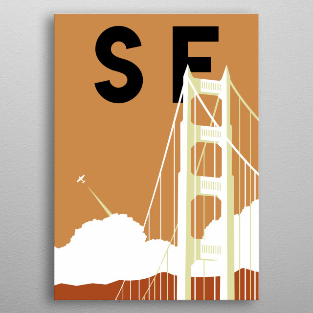 Dream big as you cross the Golden Gate Bridge in this minimalist poster featuring San Francisco, California.  metal poster