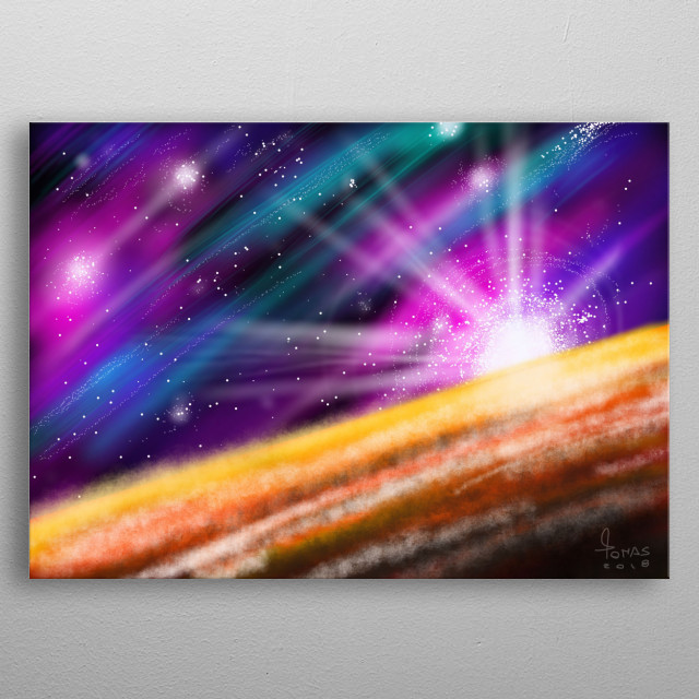 The moment a new galaxy is born.  metal poster