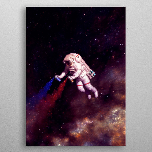 The astronaut artist. Color your universe! metal poster
