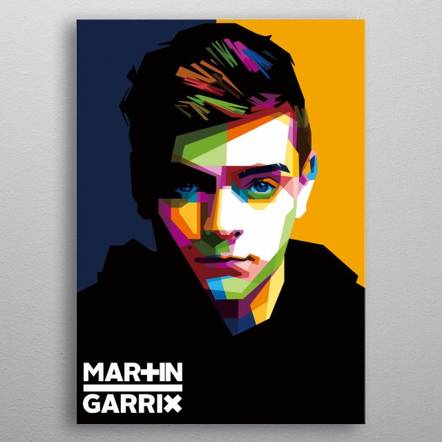 this artwork called WPAP(Wedhas Pop Art Portrait). The characteristic is it has no curve in it, just rigid line and playing with color metal poster