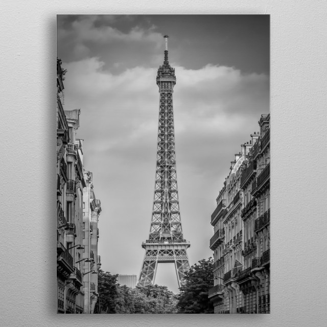 The Eiffel Tower in Paris characterizes the cityscape. Enjoy a typical street scene from Avenue d'Eylau. Classical monochrome impression. metal poster