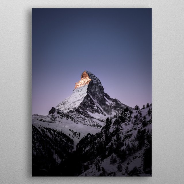 The Matterhorn is a mountain of the Alps, straddling the main watershed and border between Switzerland and Italy.  metal poster