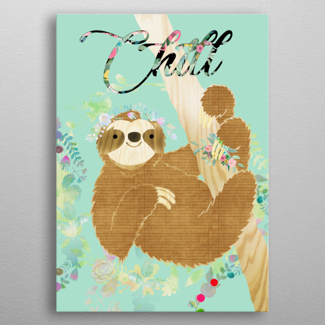 Chill Sloth Collage metal poster
