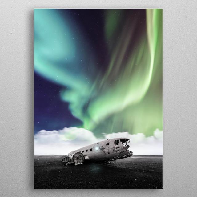 Aurora over crashed plane metal poster