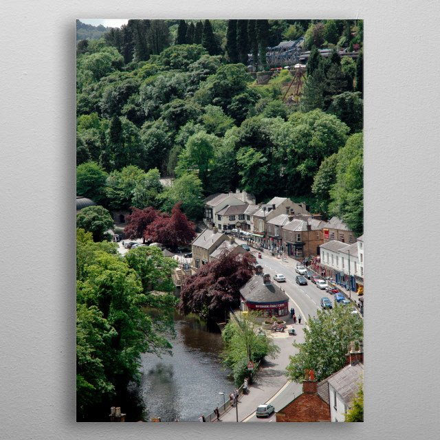 Lovely view of Matlock Bath in Derbyshire in summer with the trees at their deepest green. metal poster