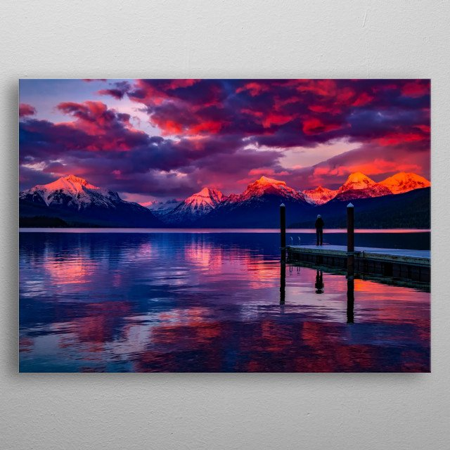 amazing purple sunset behind snowy mountains and lake  metal poster