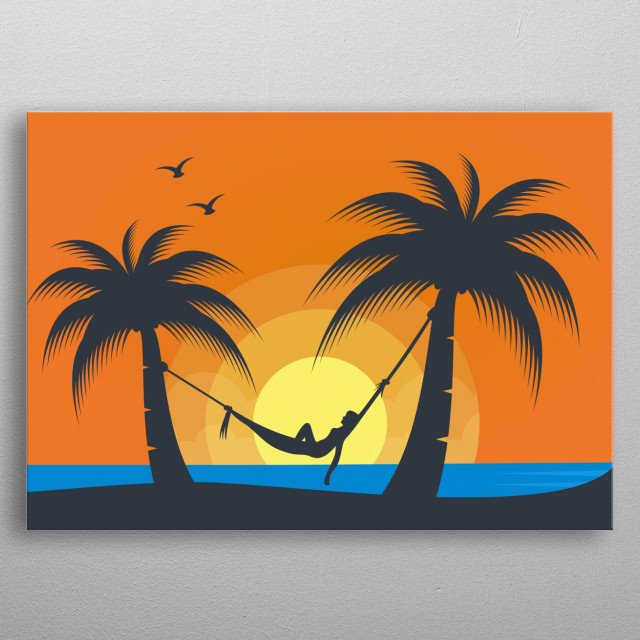 Illustration of a woman enjoying the beautiful sunset on the beach. metal poster