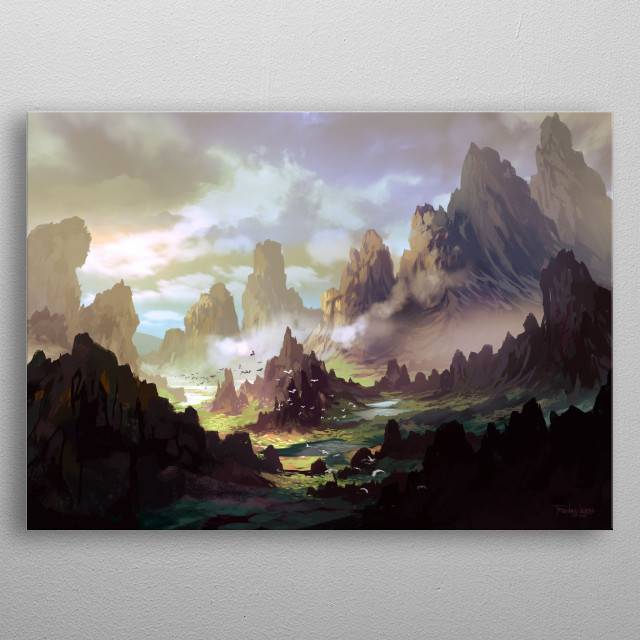 Fantasy landscape inspired by nature. metal poster