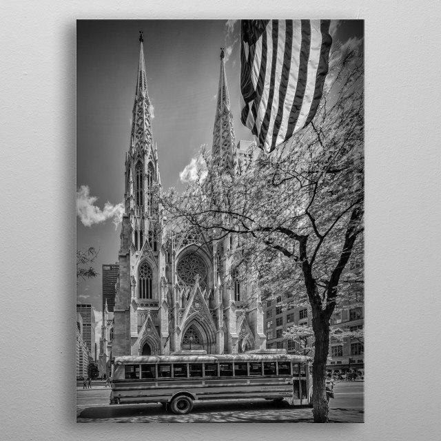 A classical American street scene with a school bus. A unique calmly impression of the cathedral, without any bustle around. metal poster