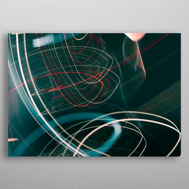 Light Art Photography Downwards spiraling lights metal poster