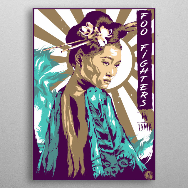Japan-inspired illustration commemorating the band foo fighter metal poster