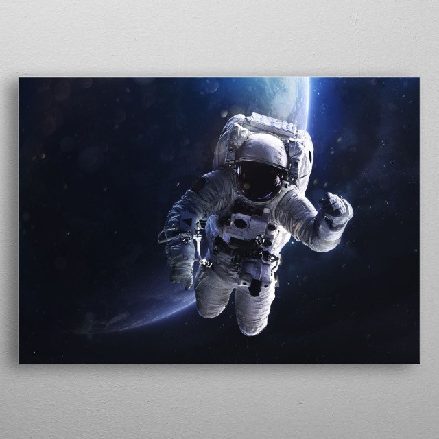Astronaut in orbit drifting in space over a planet. metal poster