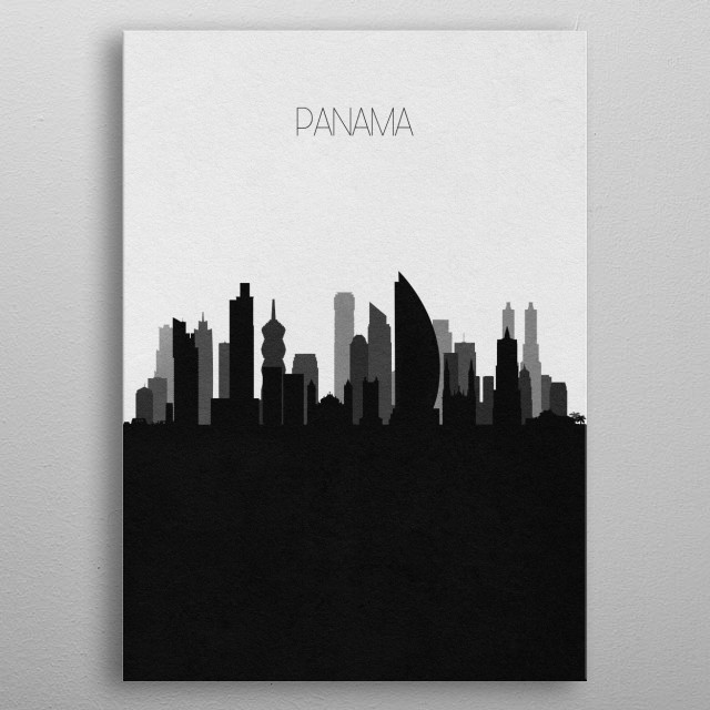 Black and white skyline illustration of Panama. This minimalistic poster features famous landmarks and buildings of the city. metal poster