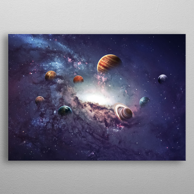 Solar system  on a field of stars. Each planet is detailed. metal poster