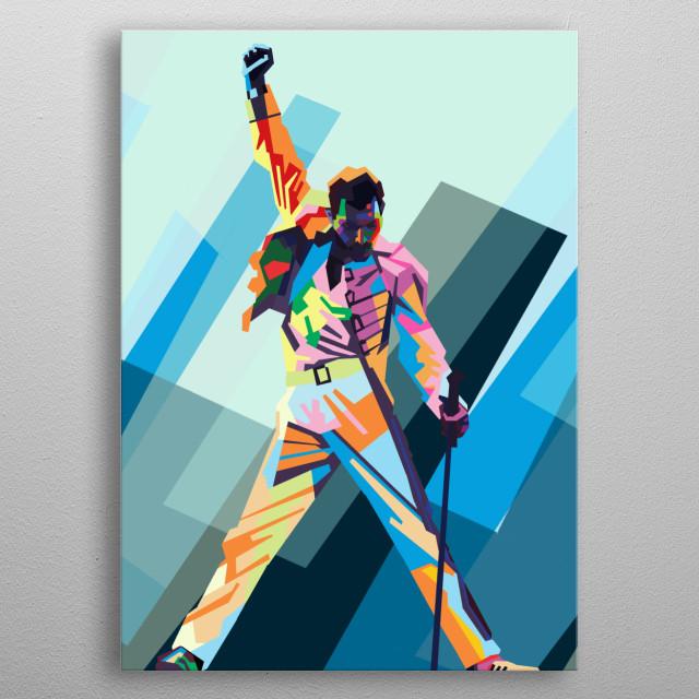 Freddie mercury colorful background blue metal poster