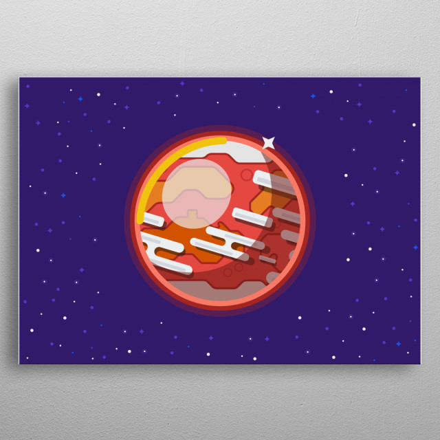Inspired by the youtube series Kurgestatz is a poster made in Flat Design of Mars. metal poster