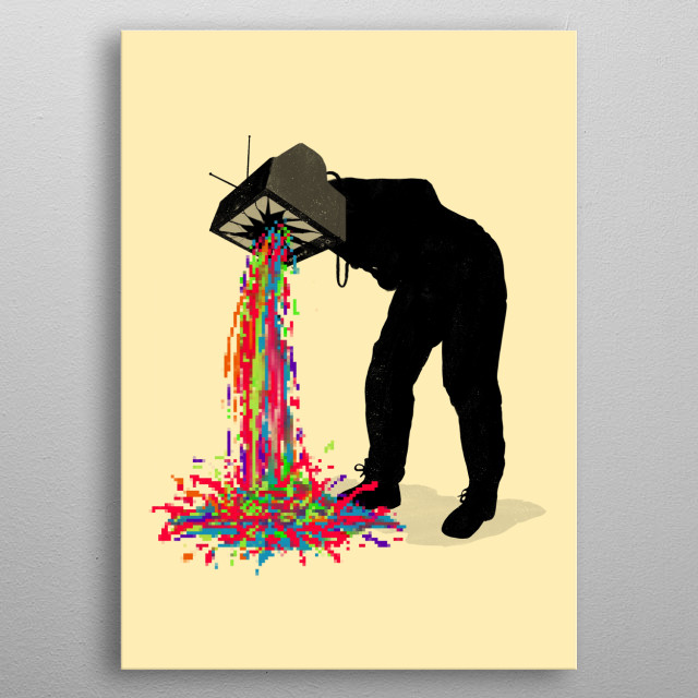 Inspired by vintage tv with pixels overloading as vomit. metal poster
