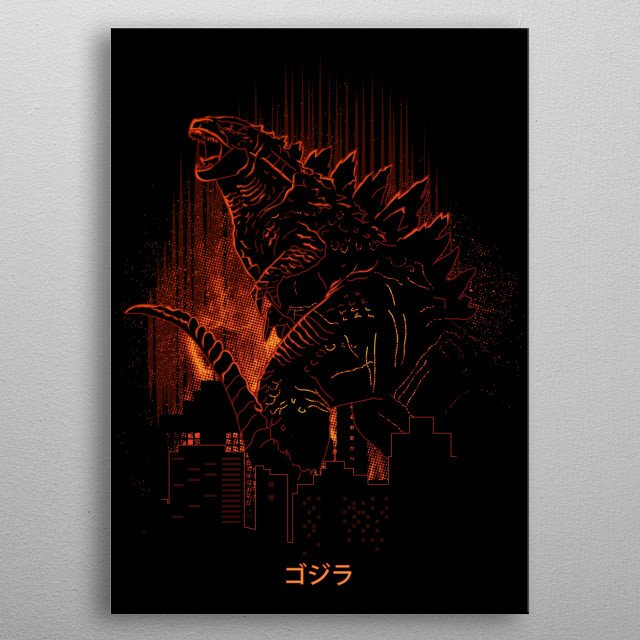 Illustration inspired by the king of monsters  metal poster