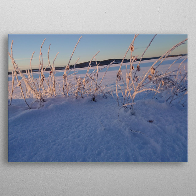Magic Winter landscape / Beautiful  Lake (Volgsjön) from The north  of Sweden  metal poster
