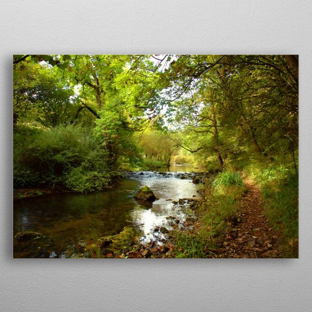 Lovely riverside walk at Millers Dale in the beautiful Peak District National Park, Derbyshire, UK.  metal poster