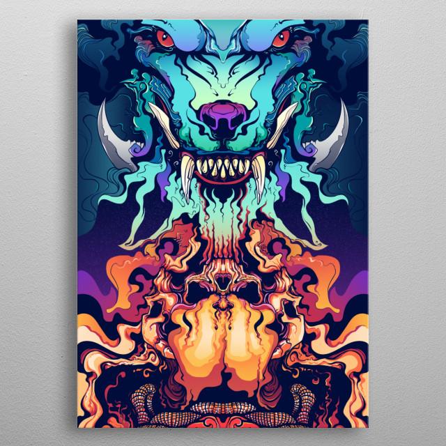 Mask of Shin Wolf metal poster