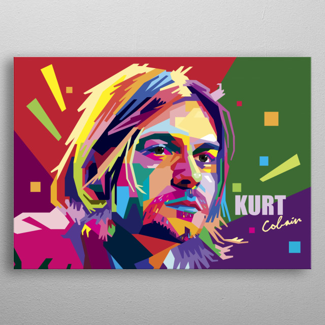 Kurt Cobain, the founding father of rock alternative called 'grunge' from Seattle, America. metal poster