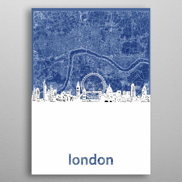 London skyline inspired by decorative,vintage,blue,cartography,pop art design metal poster