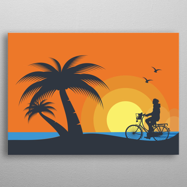 Illustration of a person who enjoys dusk on the beach by bicycle metal poster