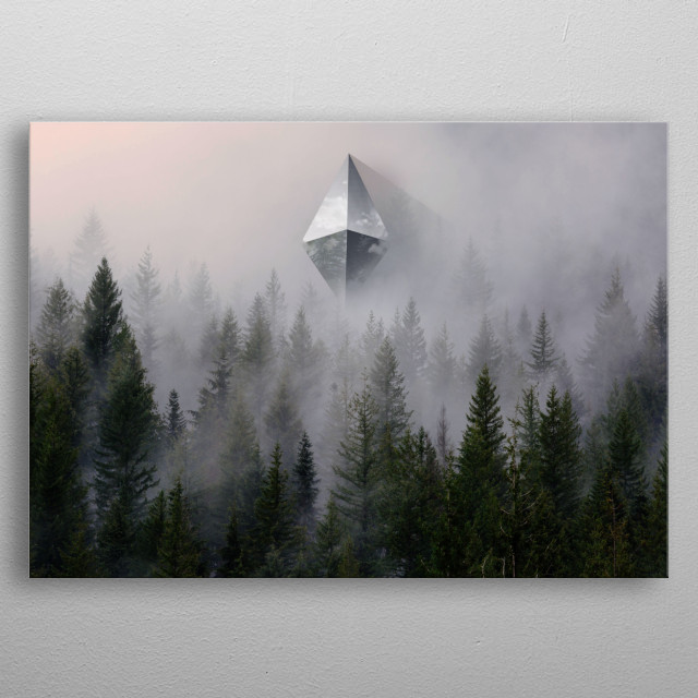 "A ufo succesfully enterred earth and is suspended in the air above a forest. Belongs to  ""Contact"" series. metal poster"