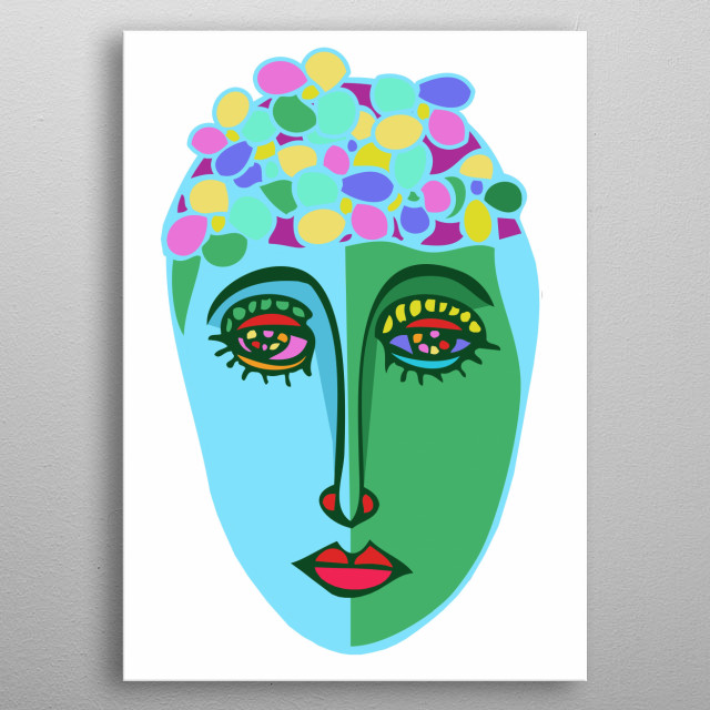 Abstract bathing beauty design by Rockett metal poster