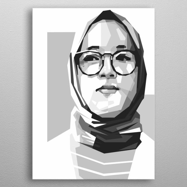 Nissa Sabyan in Black and White Style WPAP Illustration Modern Art metal poster