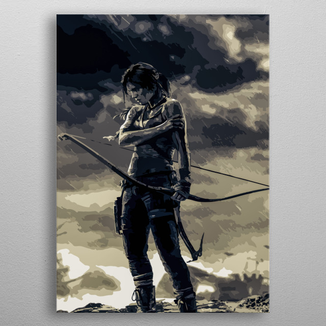 Speed Art of Lara Croft from the video game: Tomb Raider. metal poster