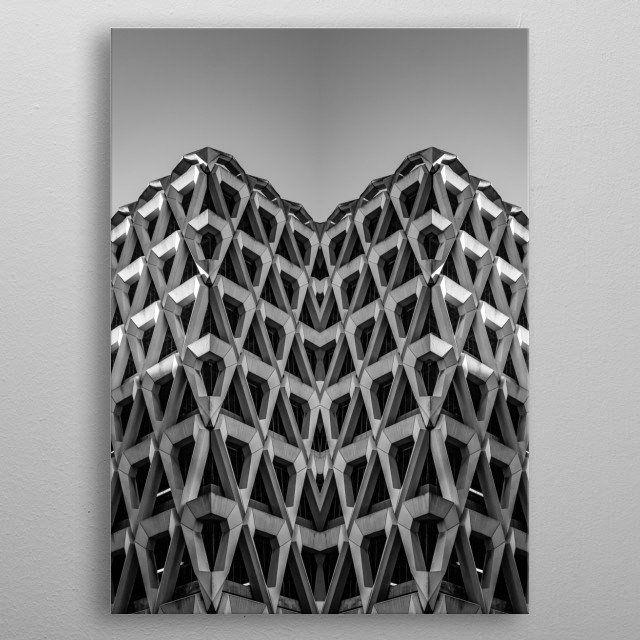 Using symmetry to create an abstract image of surreal architecture metal poster