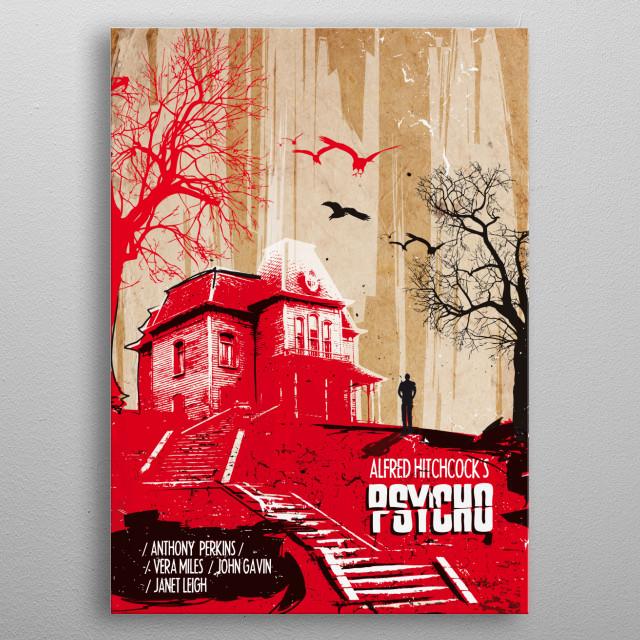 Psycho art print movie inspired metal poster