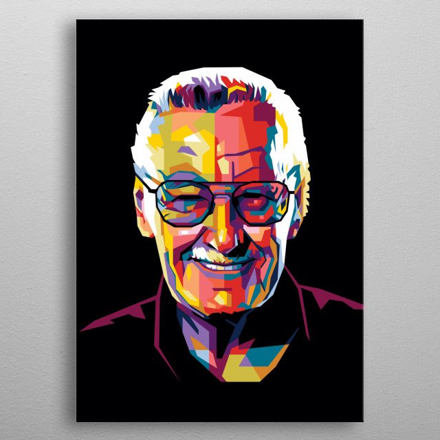 Stan lee in wpap modern pop art style  metal poster