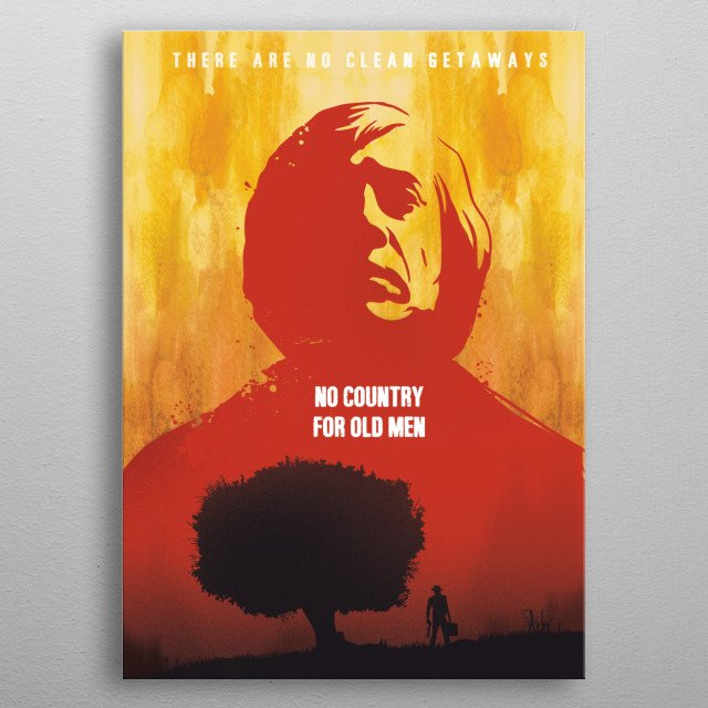 No Country for old men art movie inspired metal poster