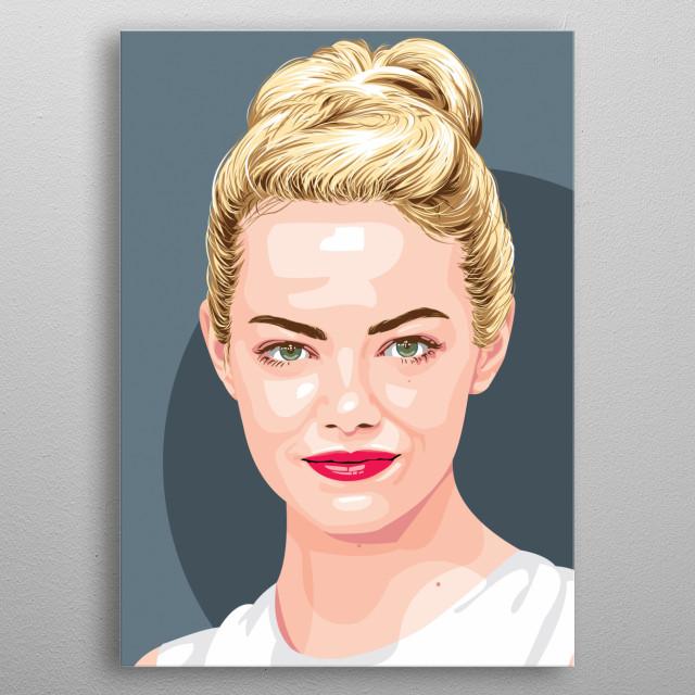 Portrait of Emma Stone metal poster