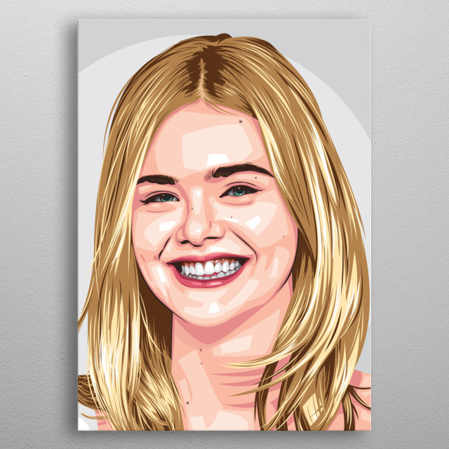 Portrait of Elle Fanning metal poster
